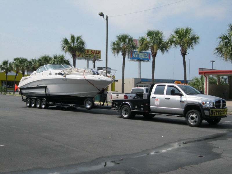 boat on trailer transport